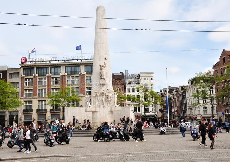 View of Dam Square in central city Amsterdam, the Netherlands royalty free stock images