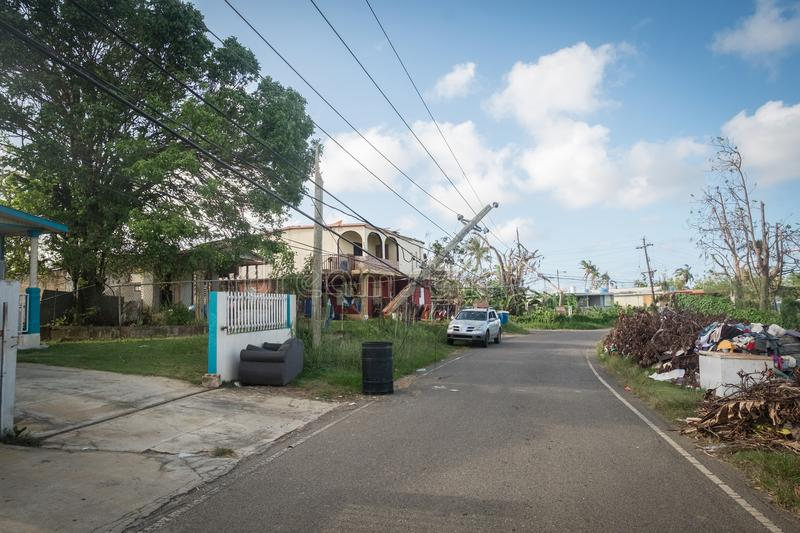 The wreckage of Hurricane Maria. A view of the damage to the power grid by Hurricane Maria, near Vega Baja, in Puerto Rico royalty free stock photo
