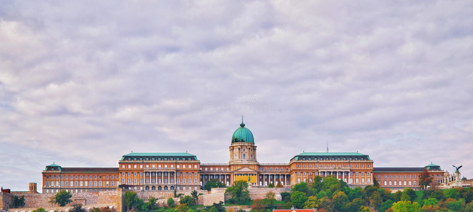 View from danube river of Buda Castle Royal Palace on Hill. Budapest Royal King Castle and palace complex skyline at stock image