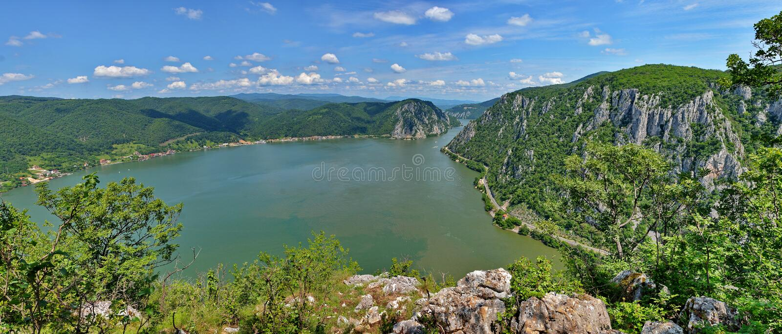 Danube River, Romania. View of the Danube River and Gorges, Romania stock photography