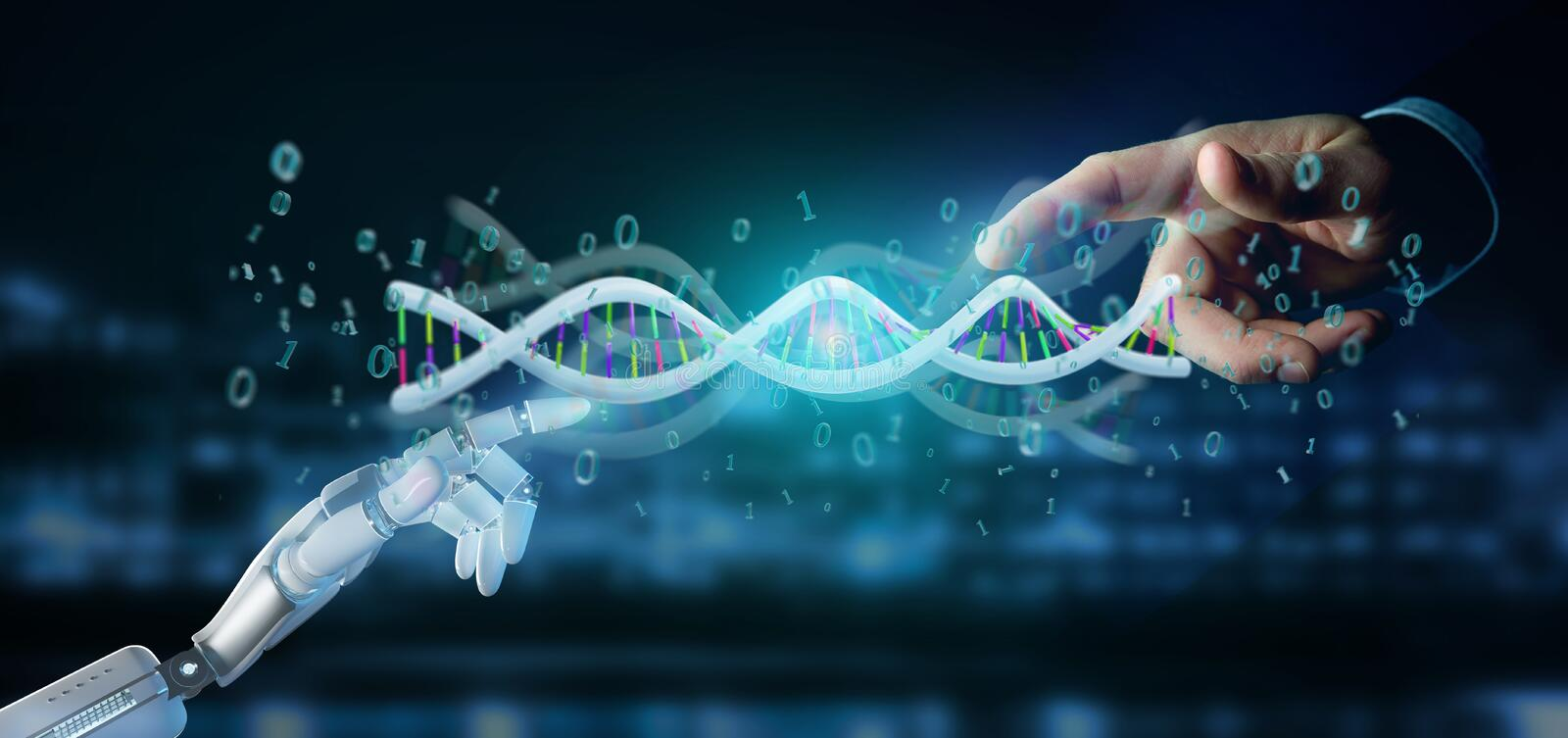data coded Dna with binary file around 3d rendering royalty free stock photo