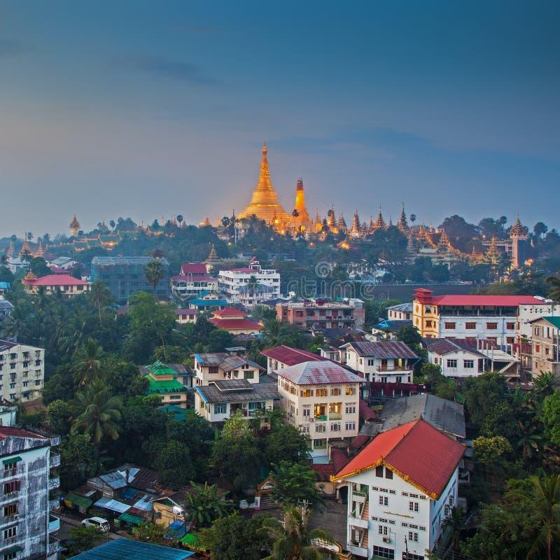 View at dawn of the Shwedagon Pagoda royalty free stock photos
