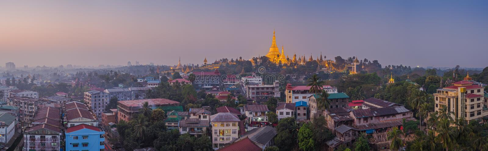 View at dawn of the Shwedagon Pagoda royalty free stock images