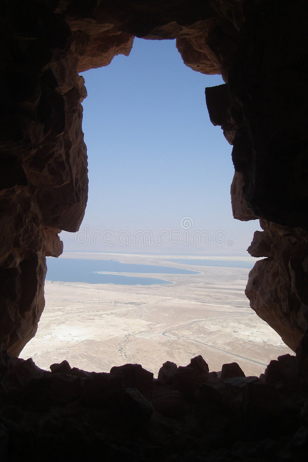 View on dead sea from Masada royalty free stock image