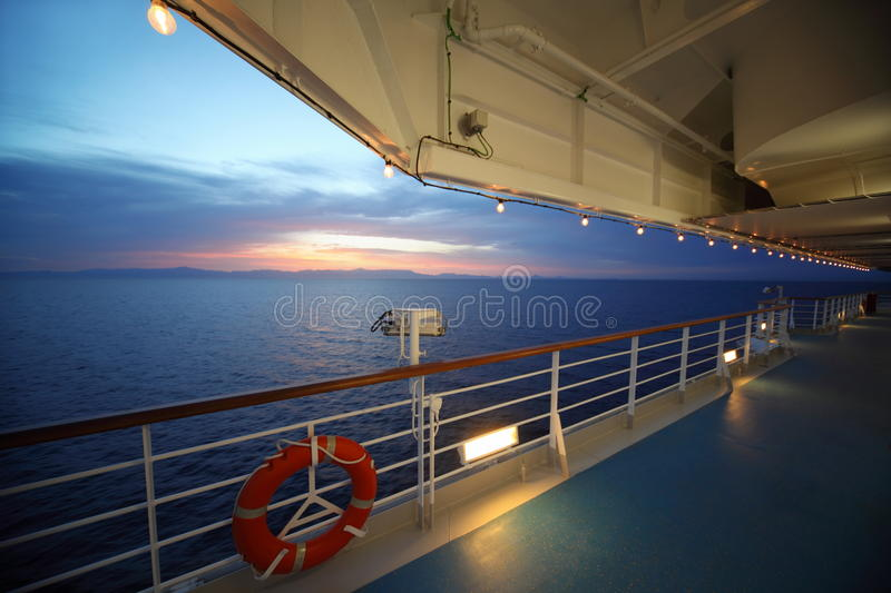 View from deck of cruise ship. sunset. royalty free stock images