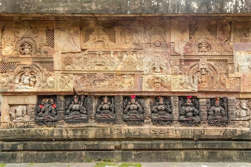 View at the Decorative stone relief of Parsurameswara Temple in Bhubaneswar  - Odisha, India. View at the Decorative stone relief of Parsurameswara Temple in royalty free stock photo