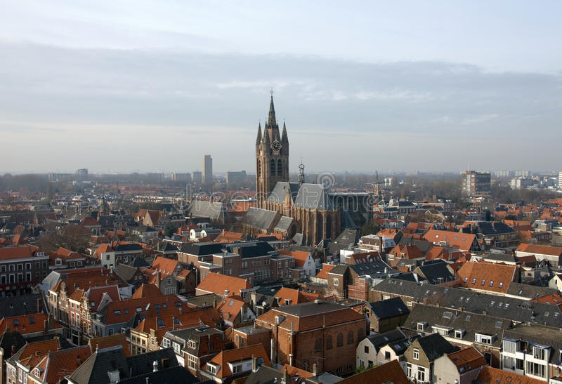 View of Delft. A view of the houses and buildings in Delft, the Netherlands, captured from the church spire of the New Church (Nieuwe Kerk royalty free stock photography