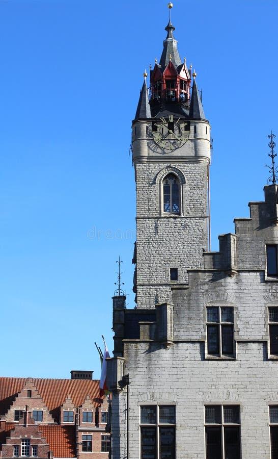Medieval Belfry, Dendermonde, Belgium. View of the Dendermonde Medieval Belfry, situated on the Market Square Grote Markt of Dendermonde, East Flanders, Belgium stock photo