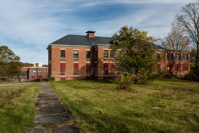 Derelict Childs Building - Abandoned Westboro State Hospital - Massachusetts. A view of the derelict Childs Building, designed in the Colonial Revival stock image