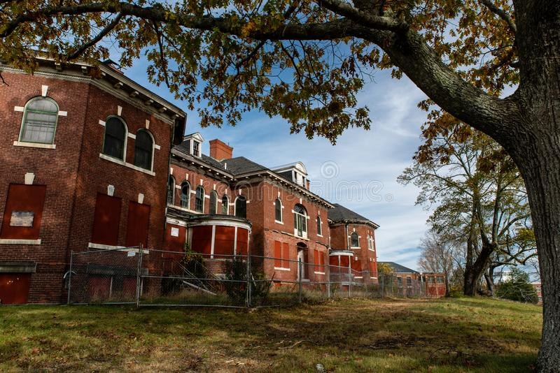 Derelict Codman Building - Abandoned Westboro State Hospital - Massachusetts. A view of the derelict Codman Building, designed in the Colonial Revival royalty free stock image