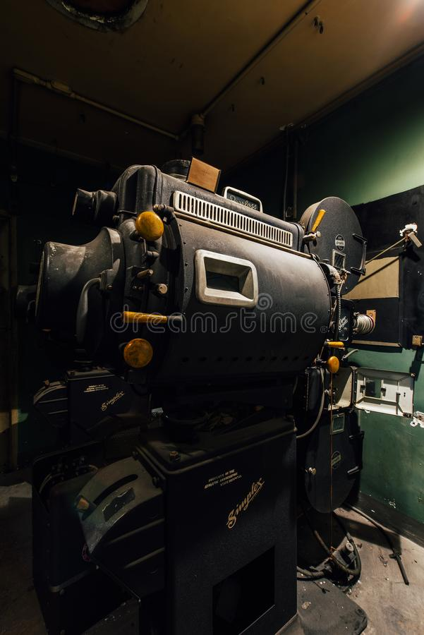 Vintage Theater Projector - Abandoned Harrisburg State Hospital - Harrisburg, Pennsylvania royalty free stock photos