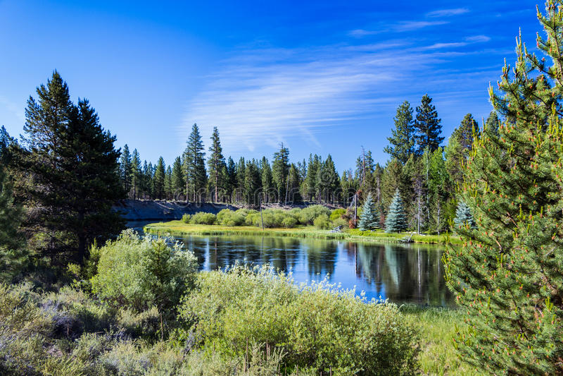 View of Deschutes River Sunriver Oregon stock images