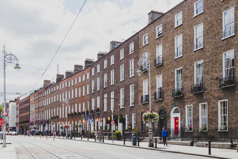 View of a deserted Harcourt Street in Dublin city centre shot in stock photo
