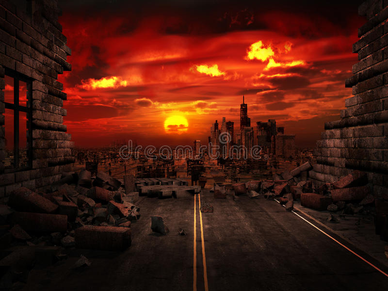 View of the destroyed city. Apocalyptic scenery with ruins of a city