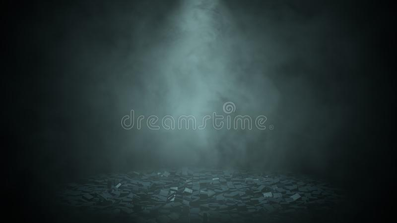 View of a destroyed street with messy blocks in the middle of the darkness illuminated by a blue light with black background. 3D royalty free stock image