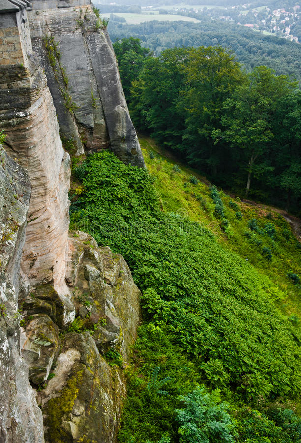 View on a detail of konigstein fortress stock photos