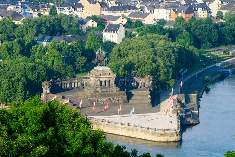View on Deutsches Eck in Koblenz in Germany stock photo