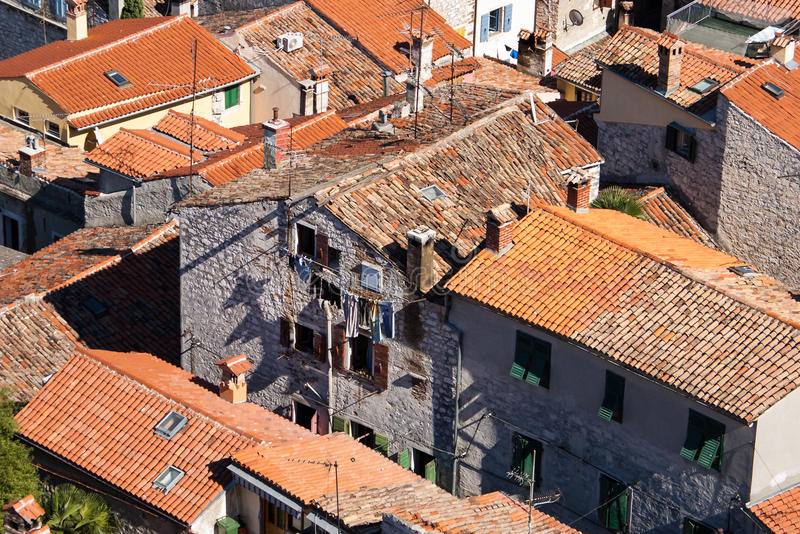 View of the devastation and desolation roofs. royalty free stock image