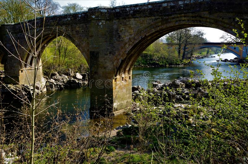 Landmarks of Cumbria - Kirkby Lonsdale. A view of the Devils bridge and River Lune in Kirkby Lonsdale in Cumbria royalty free stock photo