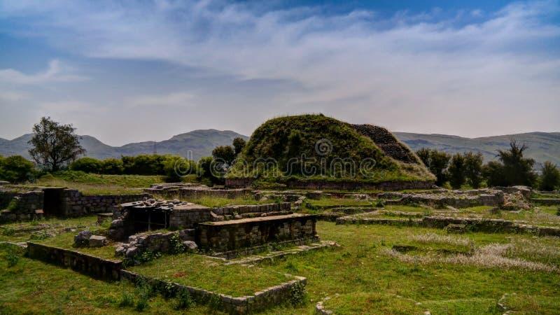 View of the Dharmarajika stupa in Taxila ruins Pakistan stock photo