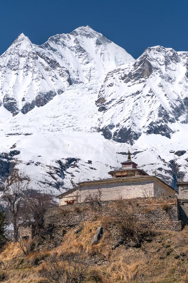 The view on Dhaulagiri peak and buddhist monastery. The photo was taken during my one year trip around Asia stock images