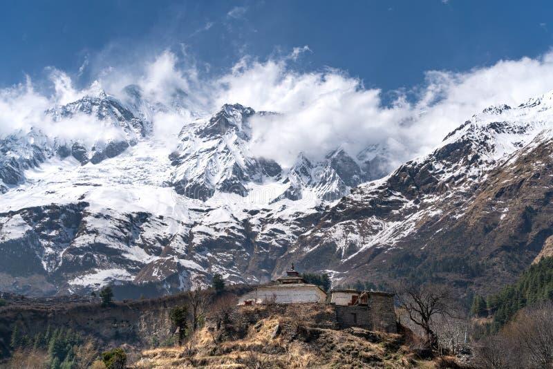 The view on Dhaulagiri peak and Buddhist monastery. The photo was taken during my one year trip around Asia stock photos