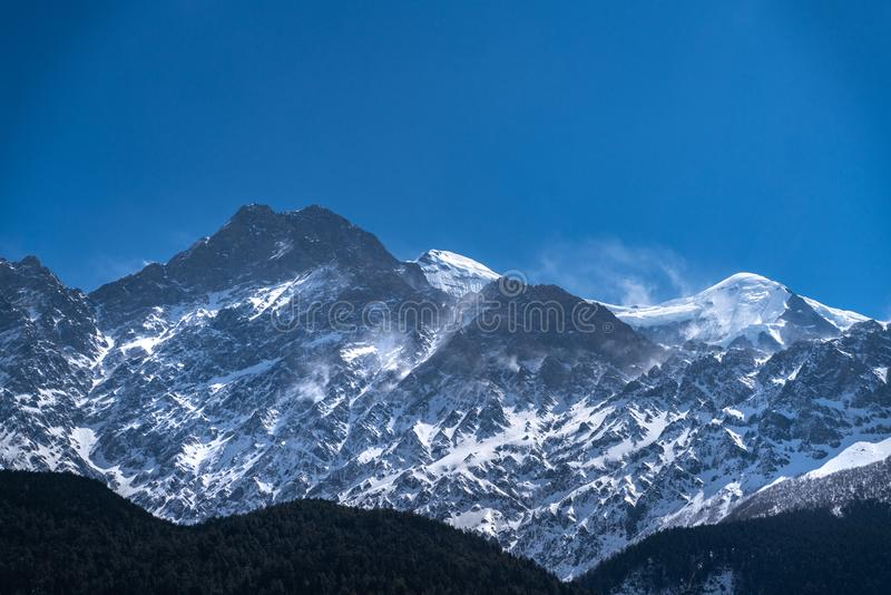 The view on Dhaulagiri peak. The photo was taken during my one year trip around Asia, mountain Himalayan stock images