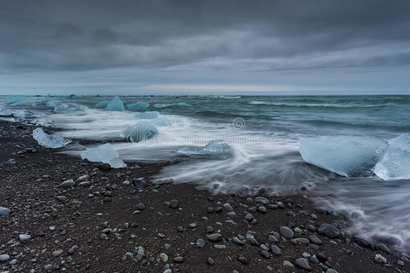 View of the Diamond Beach in the south of Iceland royalty free stock photos