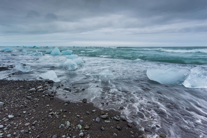 View of the Diamond Beach in the south of Iceland stock photos
