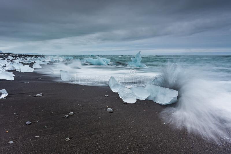 View of the Diamond Beach in the south of Iceland royalty free stock image
