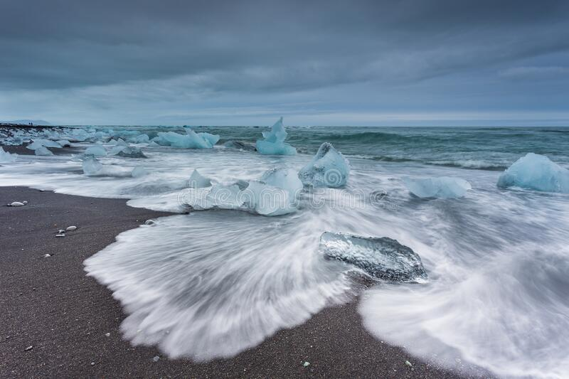 View of the Diamond Beach in the south of Iceland stock photography
