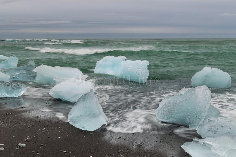 View of the Diamond Beach in the south of Iceland royalty free stock photo