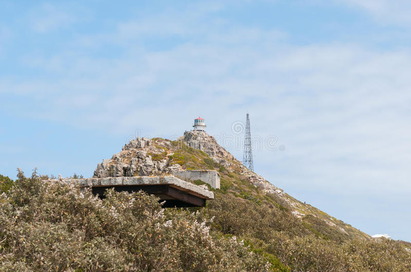 View from Dias Point at Cape Point towards first lighthouse royalty free stock images