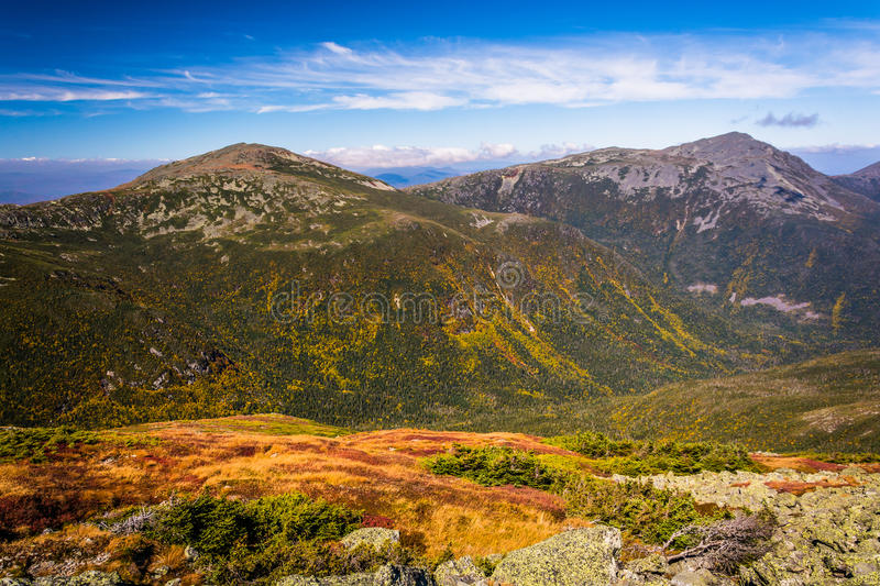 View of distant mountains from the summit of Mount Washington, N royalty free stock images