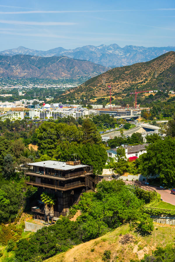 View of distant mountains and Universal City from the University royalty free stock photo