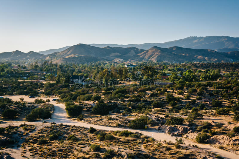 View of distant mountains from Vasquez Rocks County Park, in Agu stock photo