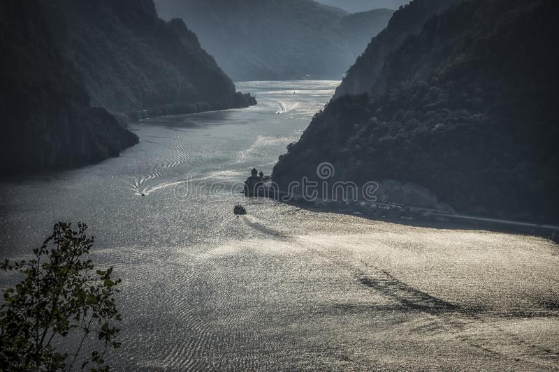 View of Djerdap gorge. View of Danube in Djerdap gorge from above with monastery Mraconia stock photos