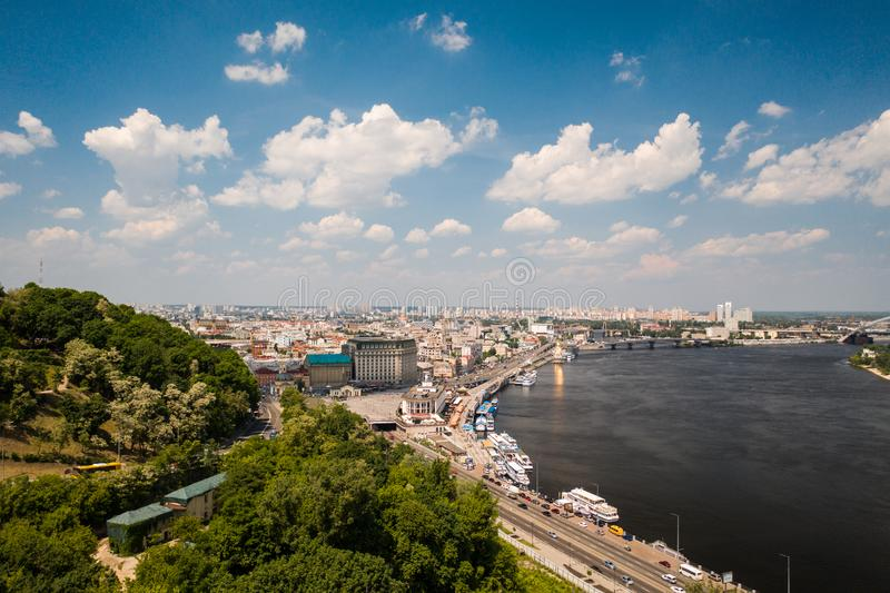 View of the Dnieper embankment, river station. In Kiev royalty free stock image