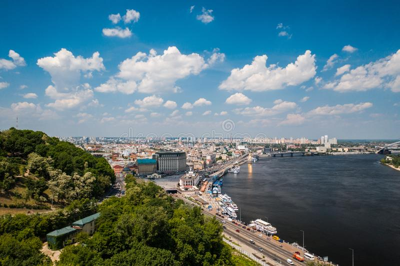 View of the Dnieper embankment, river station. In Kiev royalty free stock images