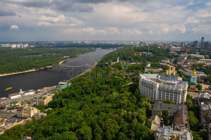 View of the Dnieper embankment, river station. In Kiev stock photography