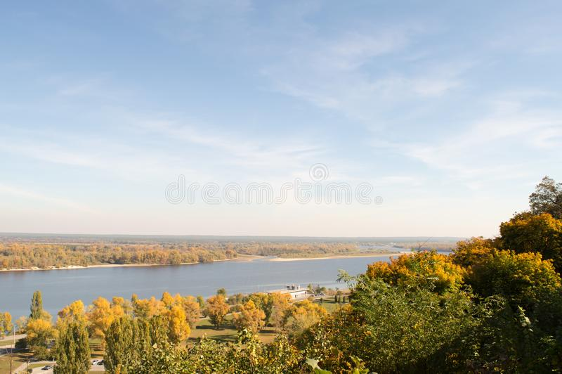 View of the Dnieper River in autumn. Kaniv, Ukraine, Tarasova Hill Chernecha Hora royalty free stock photos