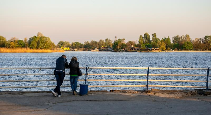 View of the Dnieper River in Kherson, Ukraine. Kherson, Ukraine - 04.27.2019. View of the Dnieper River from the embankment alley in Kherson, Ukraine royalty free stock photo