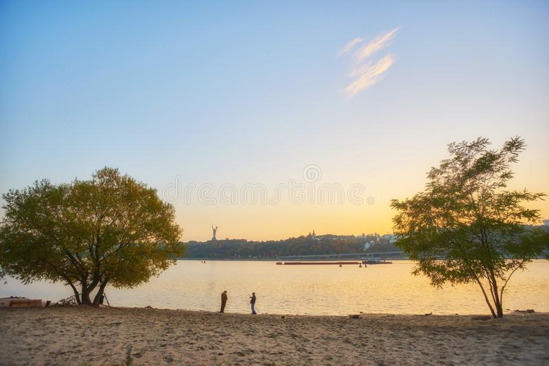 View of Dnieper river in Kiev. Ukraine, autumn, beach, kyiv, landscape, reflection, travel, water, city, coast, coastline, color, dnepr, europe, forest, island royalty free stock photography