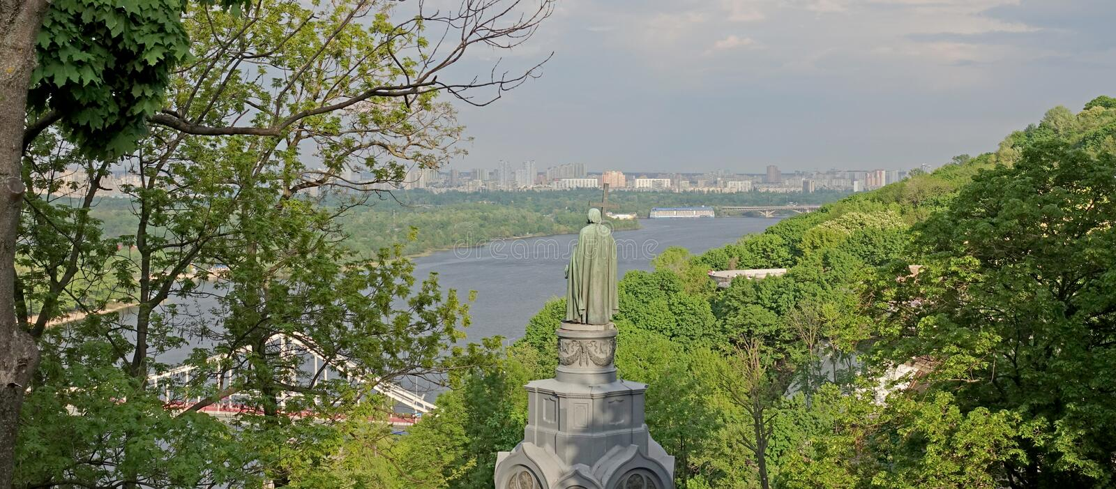 View of the Dnieper River and the Monument to Prince Vladimir. In Kiev on a spring day royalty free stock images