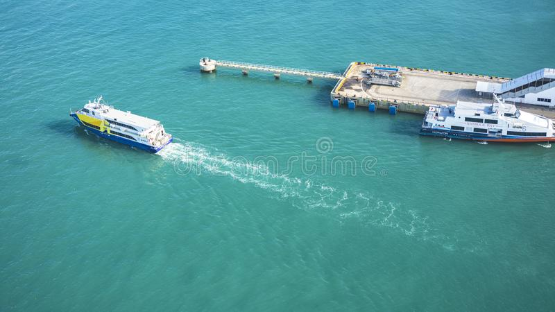 View of the dock and boats seen from the Singapore Cable Car royalty free stock images