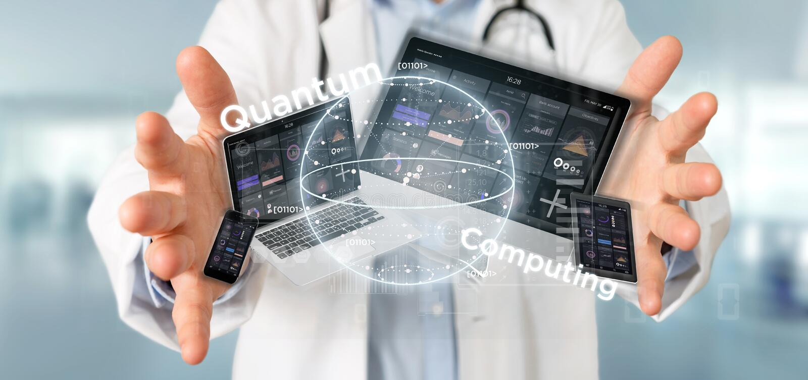 Doctor holding Quantum computing concept with qubit and devices 3d rendering. View of Doctor holding Quantum computing concept with qubit and devices 3d stock image