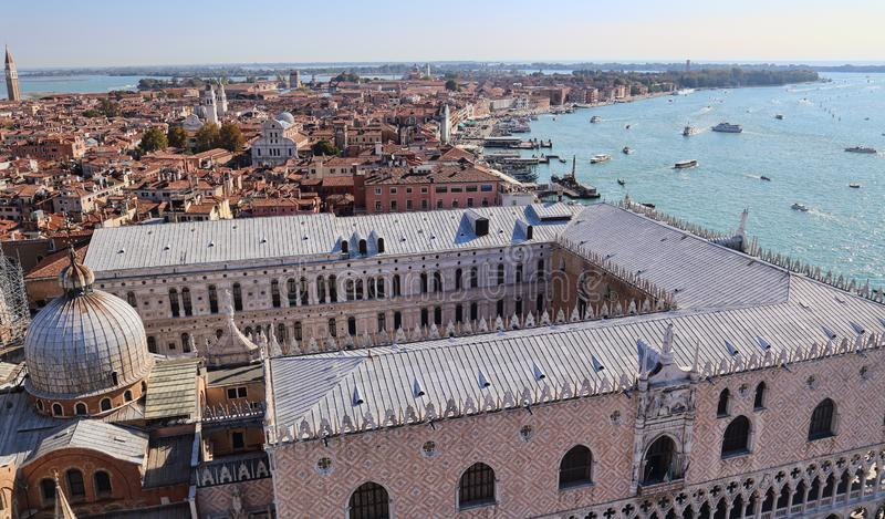 View Doges Palace roof and lagoon of Venice, Italy royalty free stock photo