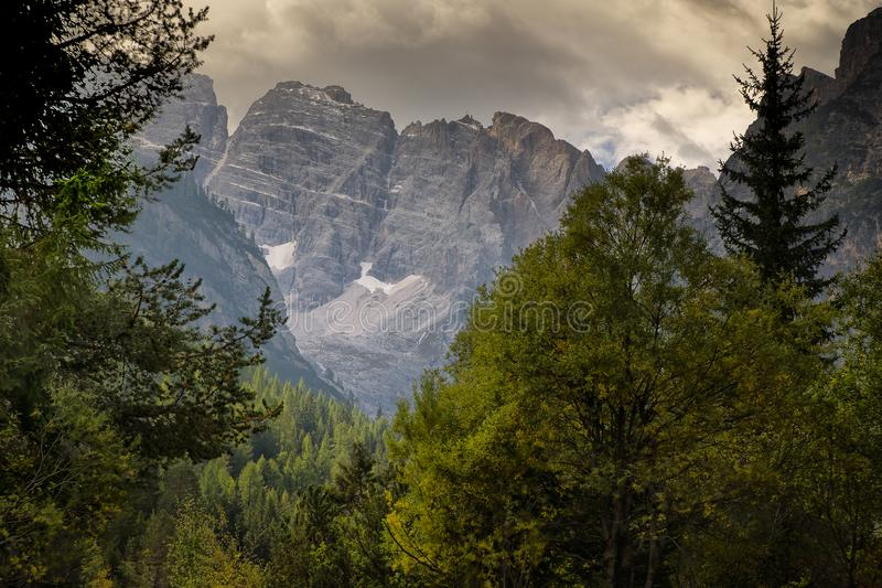 View of the Dolomite mountains north Italy stock photos