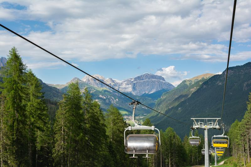 View on the Dolomites from the cable car Vajolet 1. Sella Towers on the background, Italy stock photos