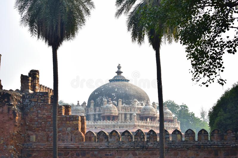 View of the dome of Isa Khan`s tomb in Delhi. India stock images
